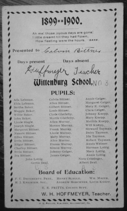 Calvin Bittner School Card, Somerset County PA