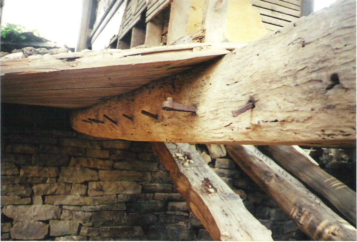 Floor beams, house on the Michael Korns, Sr. family farm, Southampton Township, Somerset County, Pennsylvania