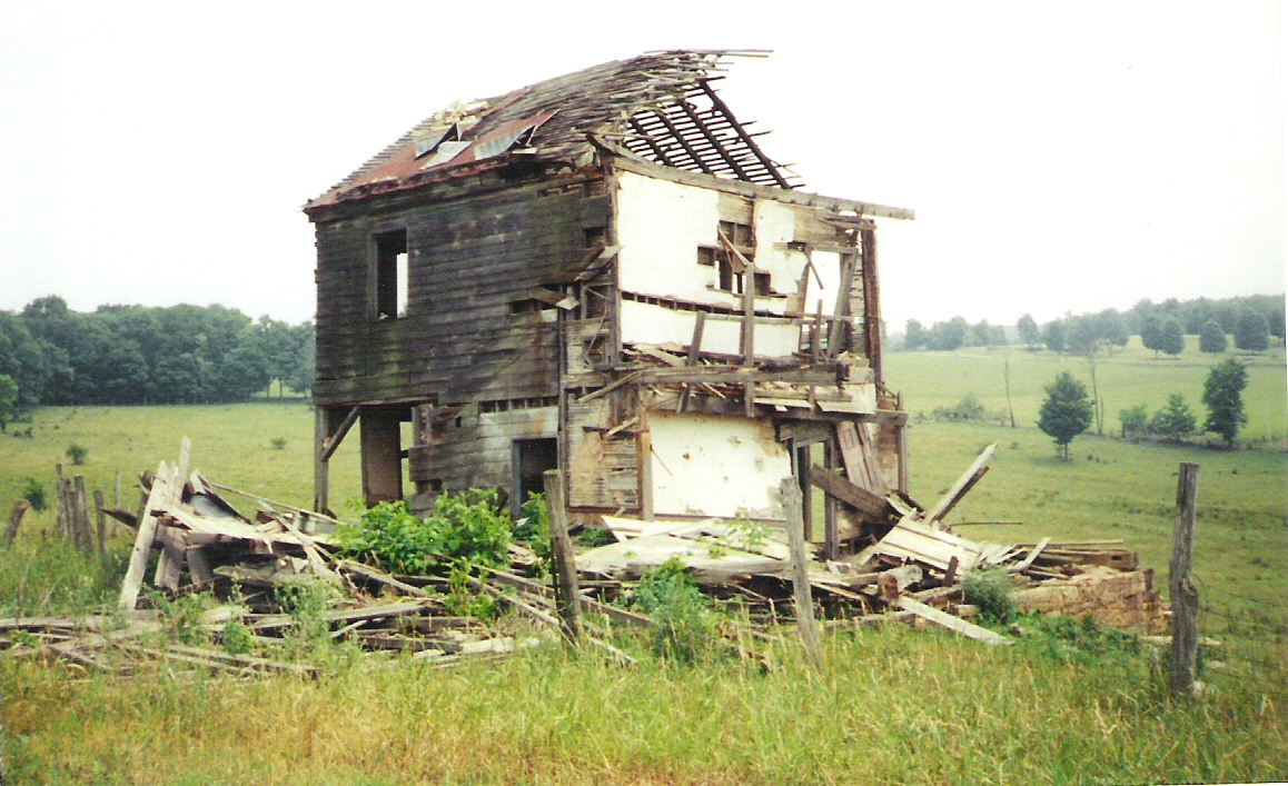 The rear of the partially collapsed farmhouse on the Michael Korns, Sr. Somerset County PA family homestead.