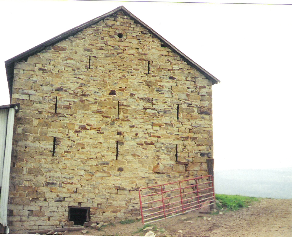 End of stone barn facing the house on the Korns farm